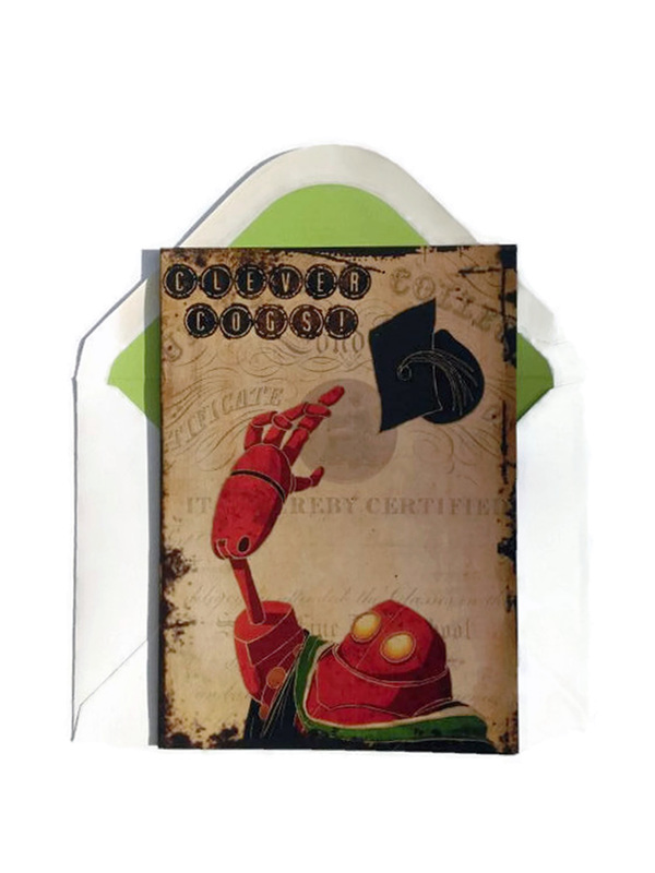 Steampunk Robot Anniversary/Valentines Card with The Coggington couple holding hands amongst cogs