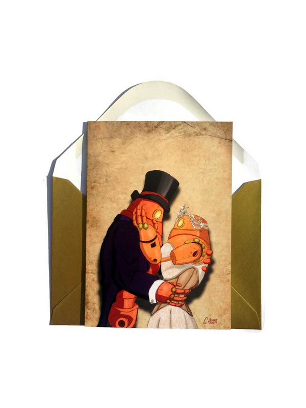 Steampunk Robot Couple getting married on a greetings card