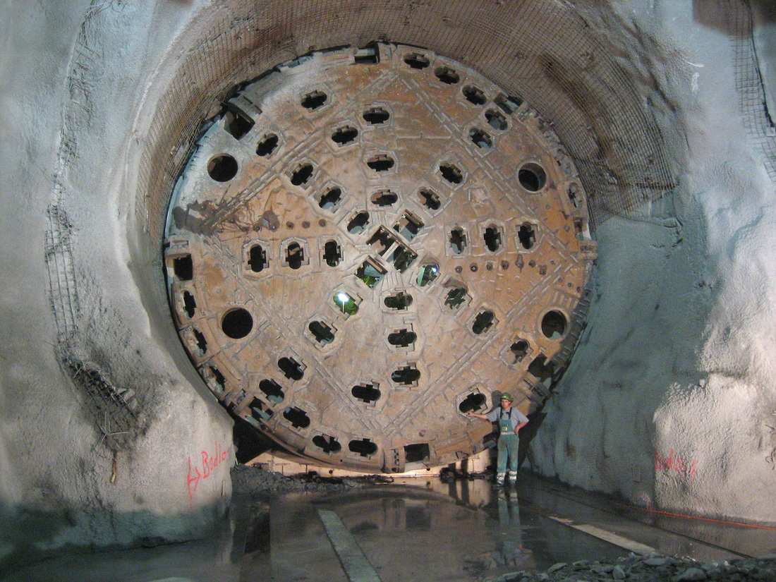 A Wikiwander through Tunnels, Mines, and Flames. A picture of a tunnel boring machine used to excavate the Gotthard Base Tunnel, the world's longest rail tunnel.