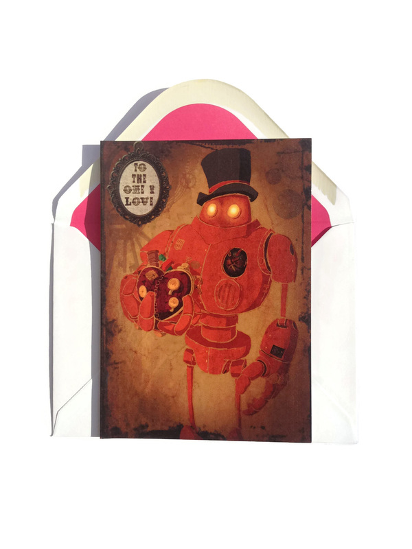 Steampunk Robot with his heart held out on a greetings card