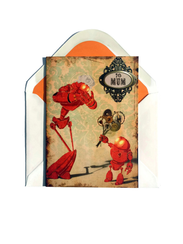 Card of a Steampunk toddler robot giving mother robot a bunch of cog flowers