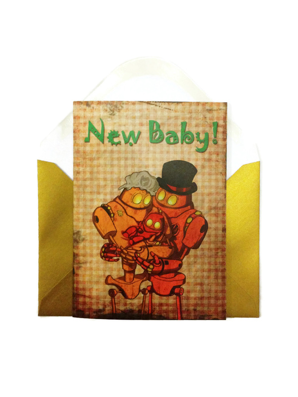 Steampunk New Baby Card - Robot family with new baby